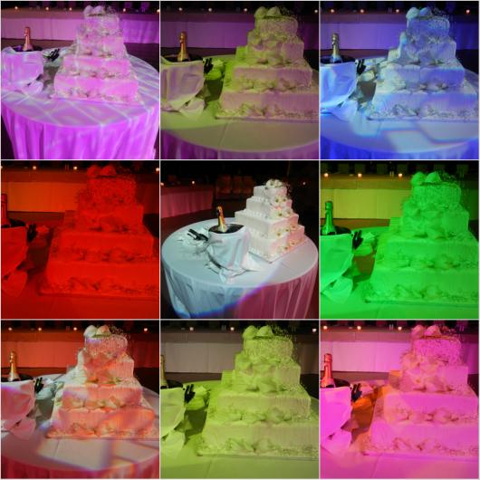 Η τούρτα γάμου αλλάζει χρώματα ανάλογα με το φωτισμό στο Anais club